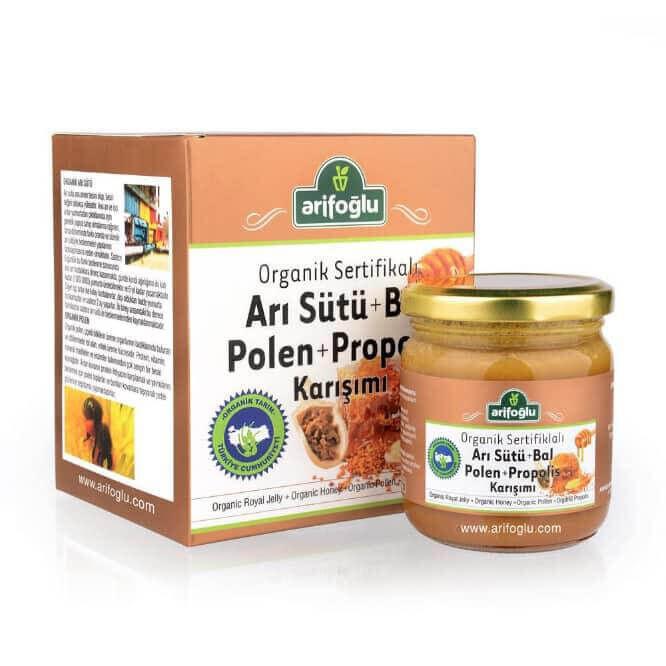 Organik Arı Sütü + Bal + Polen + Propolis Macun 230g